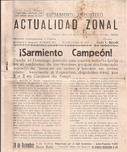 """Primera plana de """"Actualidad Zonal""""  del año 1963."""