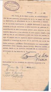 Nota enviada por  la Comisión de Damas del club a la Comisión Directiva. Año 1940.