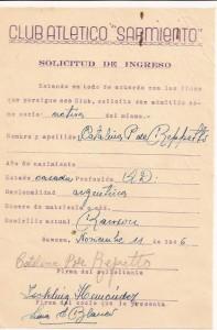 Solicitud de socio, año 1946.