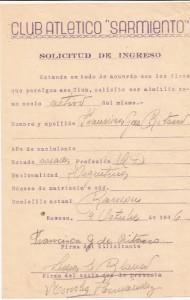 Otra solicitud de socio del año 1946.