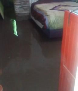 Una de las viviendas inundadas.