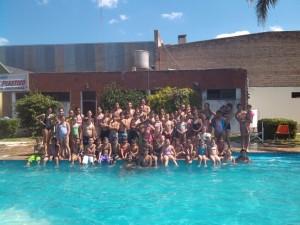 Los concurrentes a la colonia de vacaciones del Club Sarmiento.