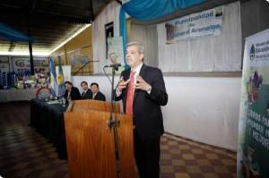 En General Arenales, el ministro destacó la decisión política de recuperar la educación agrotécnica.