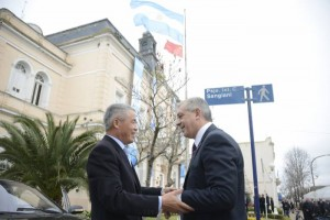 Julián Domínguez junto a Yin Hengmin en Chacabuco.