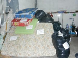 Parte de las donaciones que llegaron al Cuartel.