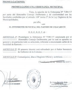 Decreto firmado por Aiola.