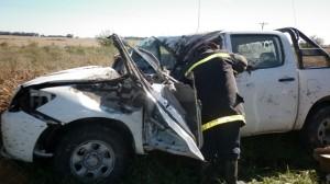 Estado en que quedó la Toyota Hilux que era guiada por Federico Bonzo de Bragado.