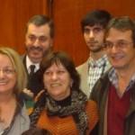 La ministra Alicia Kirchner, la diputada Rivas y el ex diputado Rony Garello luego de finalizando el encuentro entre la líder de la Corriente de Liberación Nacional (Kolina) y dirigentes de la cuarta sección electoral.