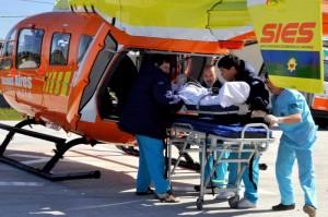 Helicóptero de emergencias del ministerio de Salud provincial.