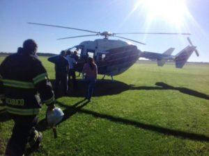 El helicóptero en que llegó y partió Vidal de Chacabuco.