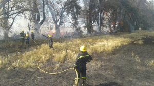 Los Bomberos de Rawson extinguiendo el fuego.