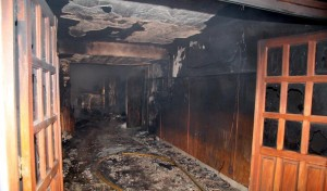 Imagen del Comité Radical de Olavarría luego del incendio.