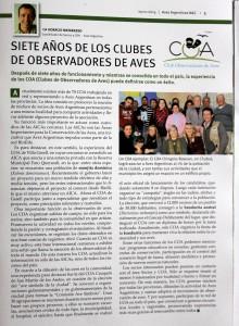El COA Chingolo-Rawson aparece en la edición de Aves Argentinas.