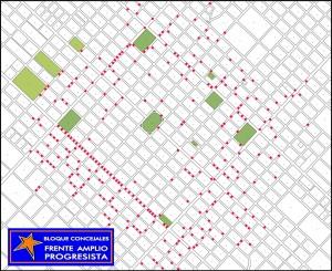 Mapa de Chacabuco con los baches marcados en rojo.