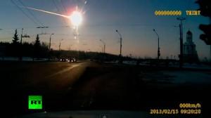 Imagen de la caída del meteorito en Rusia.