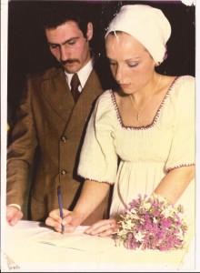 Pepe Cassino en la ceremonia de casamiento con Clarisa García.