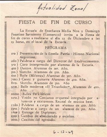 Recorte diario Actualidad Zonal que daba a conocer el acto de fin de curso.