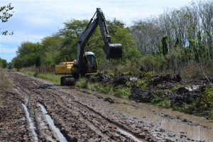 La retroexcavadora realizando tareas de limpieza en canal del ferrocarril.