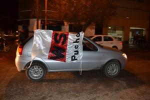 Los riverplatenses en la caravana del campeón.