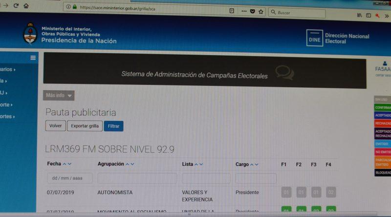 Plataforma del SACE utilizada por las agrupaciones políticas y los servicios de comunicación audiovisual, entre ellos LRM369, FM Sobre Nivel, 92.9 MHz. de Rawson