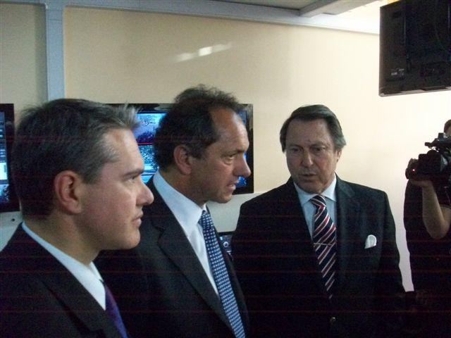 Golía, Scioli y Casal en la Sala de Monitoreo.