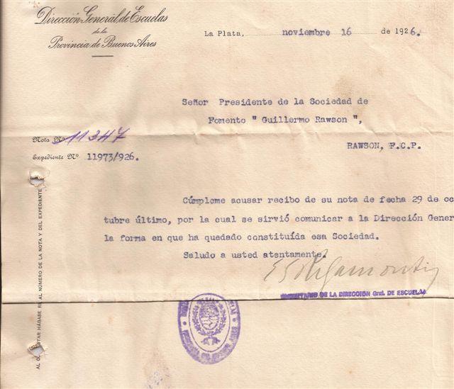 Facsimil de la aceptación de la Creación de la Sociedad de Fomento por parte de la Dirección General de Escuelas en 1926.