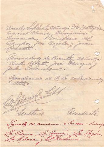 Sigue facsimil de la copia del Acta de designación de los miembros de la Comisión Administrativa de la Sociedad de Fomento Guillermo Rawson enviada la los diferentes medios de comunicación de la zona. 13.9.1926.