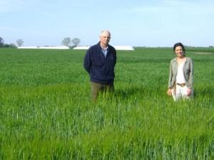 Luis y María Solimano en sus campos de Rawson.