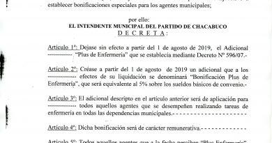 Decreto firmado por el Intendente Municipal, Víctor Aiola