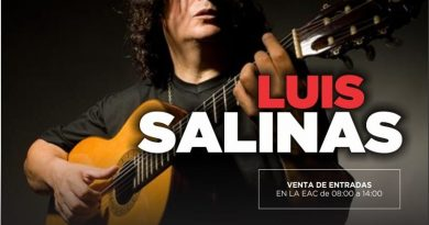 Luis Salinas se presentará en la Escuela de Actividades Culturales de Chacabuco