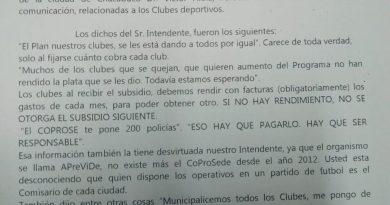 Nota de repudio al Intendente Municipal, Víctor Aiola