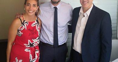 Golía recibió en su despacho a Matías Lammens y Florencia Casamiquela