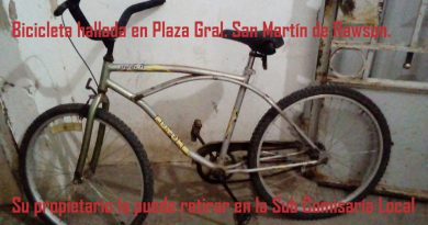 La bicicleta hallada en plaza de Rawson
