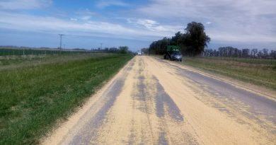 Imagen del lugar dónde camión pierde cereal que transportaba
